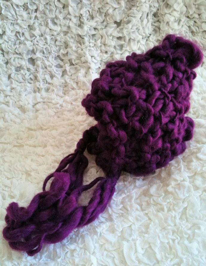 Newborn Woolly Honeycomb Pixie Bonnet - Eggplant