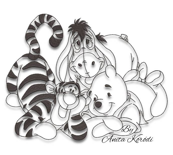 Winnie the pooh embroidery designs outline machine Disney pes
