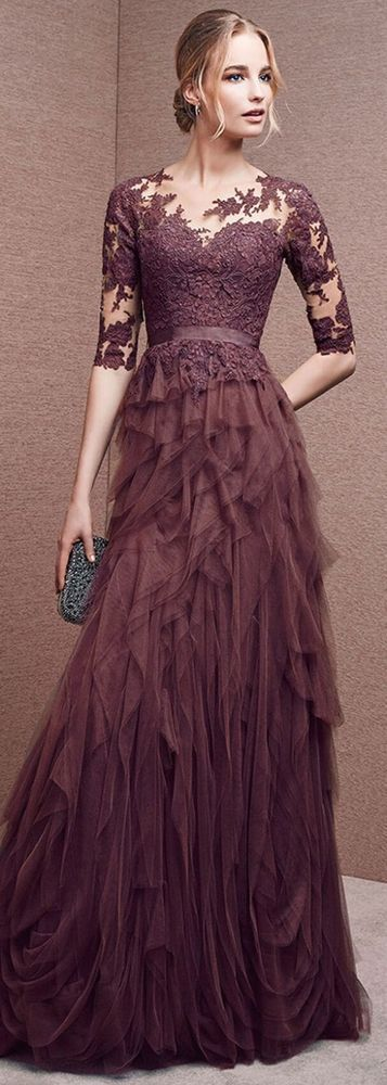 Gorgeous Tulle Jewel Neckline Half Length Sleeves A-line Evening Dresses with