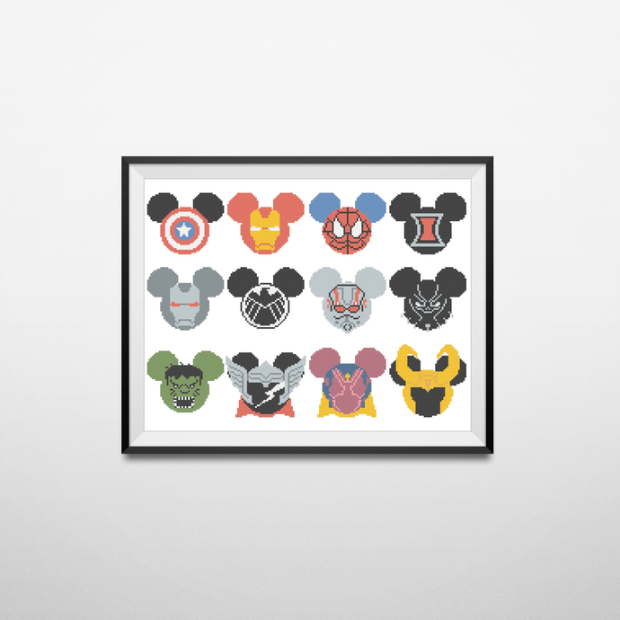#414 Animal characters cartoon Modern Cross Stitch Pattern, superheroes avengers