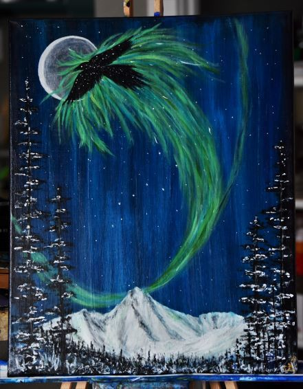 Who Calls The Raven Friend 16 x 20 Acrylic Painting