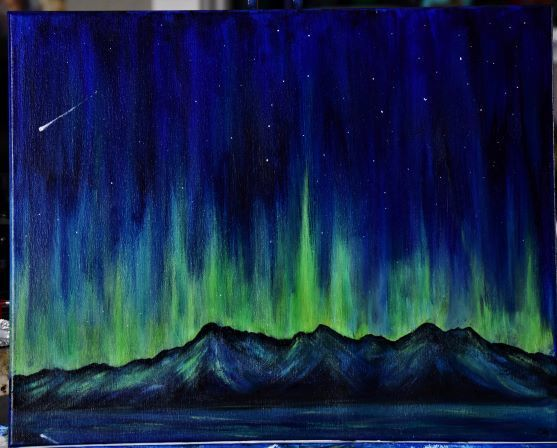Ethereal Lights 16 x 20 Northern Lights Painting