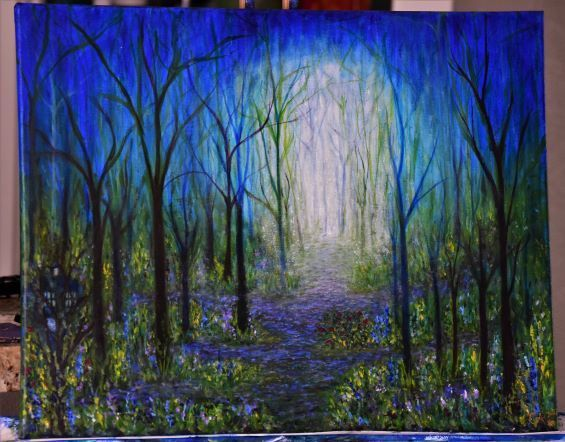 Yearning to Be Still 16 x 20 Fantasy Forest Painting