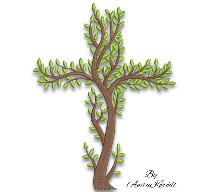 Cross Machine Embroidery Design Tree pes designs machine digital instant