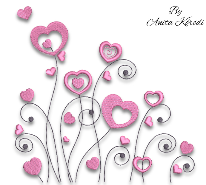 Hearts Embroidery design.Love. Heart shapes.Machine Embroidery Design.Valentines