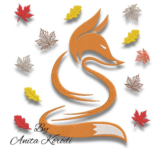 Fox embroidery machine designs leaves pes pattern instant digital download