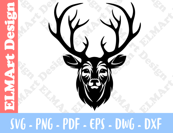 Deer Head Stag Clipart 6 Format Vector Files Art Svg Png Pdf Eps Dxf Instant