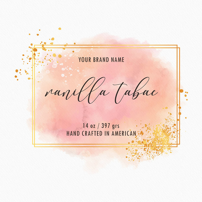 Pastel Watercolor Candle Labels, Custom Gold Label Design, Candle Label