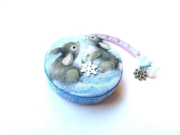 Retractable Tape Measure Snow Bunny Rabbits Small Measuring Tape