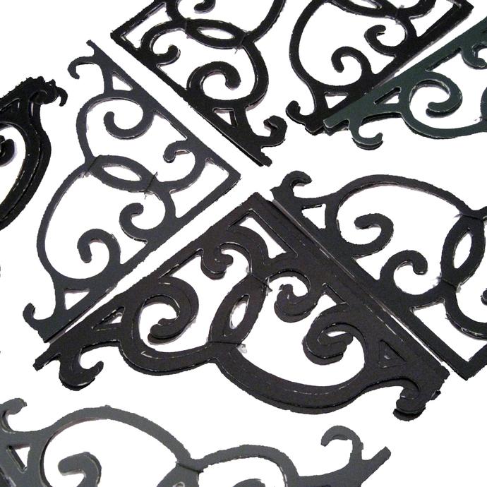 Black Gray Rustic Corner Die Cuts