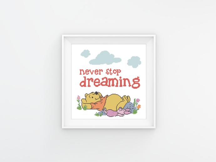 #397 Toy teddy bear  Modern Cross Stitch Pattern, Winnie the Pooh quote,  Piglet