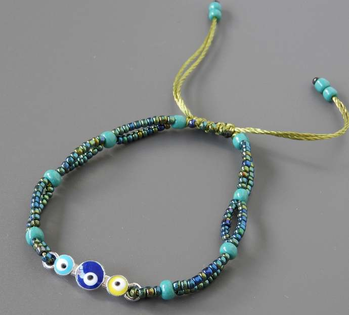 Triple Evil Eyes Bracelet, Turquoise Blue, Blue and Yellow, Green Blue Seed