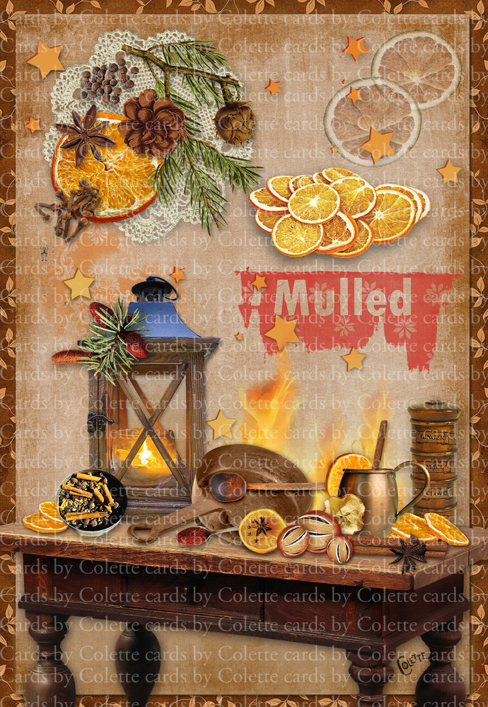 Mulling Time of the Year Digital Collage Greeting Card3130