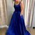 Beautiful Blue Satin Long Formal Gown, Blue Prom Dress 2021