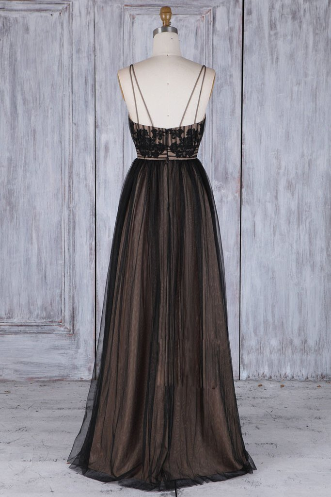 Black and Champagne Tulle Straps Bridesmaid Dress, Black Prom Dress Evening