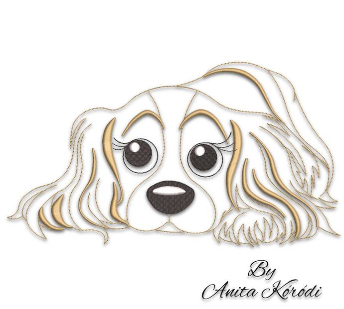 Spaniel Embroidery Machine Designs Cavalier King Charles Dog Pes File Instant