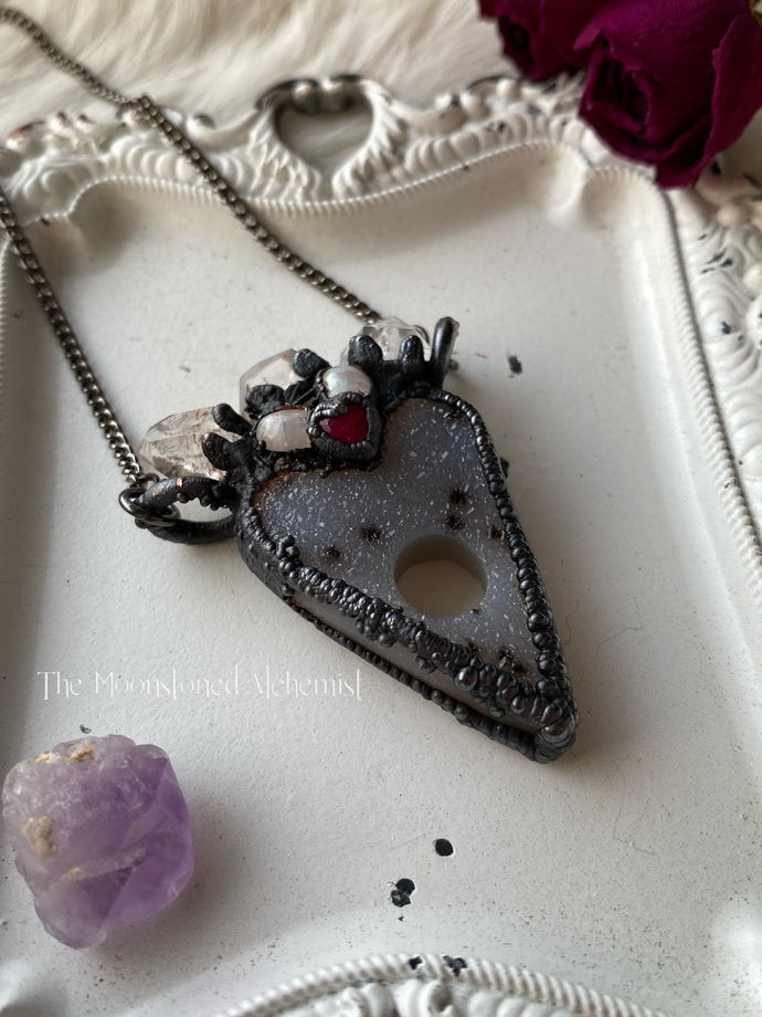Dendritic druzy planchette amulet with Herkimer Diamond crown, moonetones, and