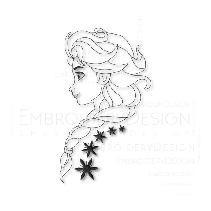 Elsa Frozen Princess disney Embroidery Machine Designs Instant Digital Download