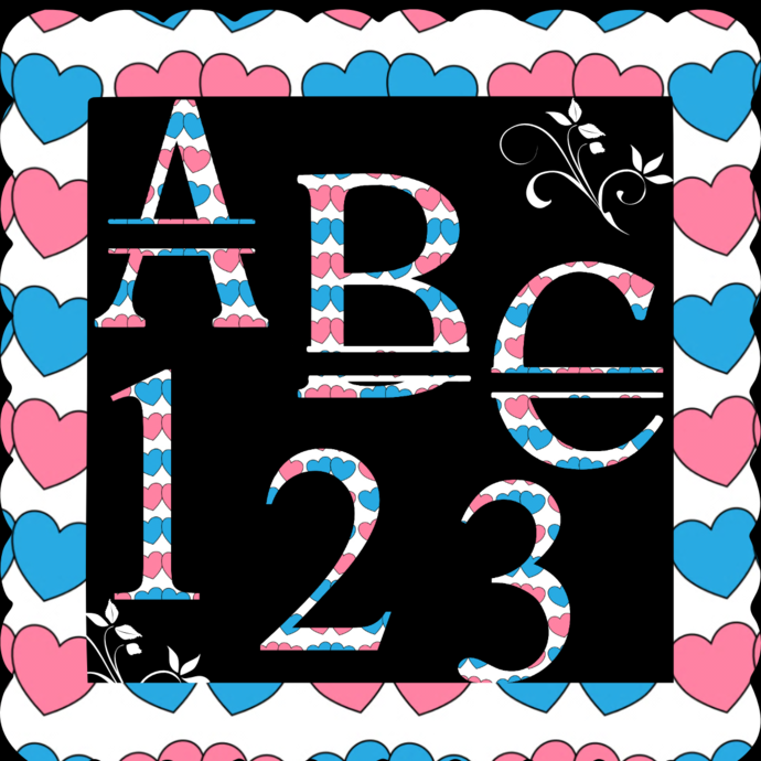 ABC and Numbers 33a-Digital ClipArt-Fonts-Art Clip-Hearts-Gift Tag-Valentine's
