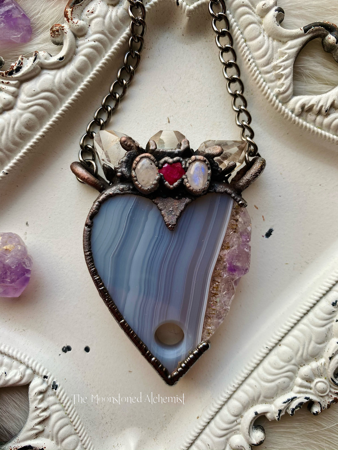 Payment 3 FOR MADDISUN Amethyst planchette amulet with Herkimer Diamond crown,
