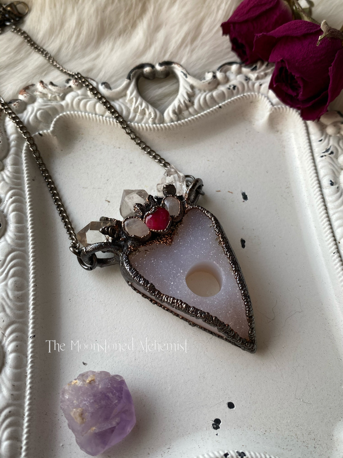 Sugar druzy planchette amulet with Herkimer Diamond crown, moonetones, and