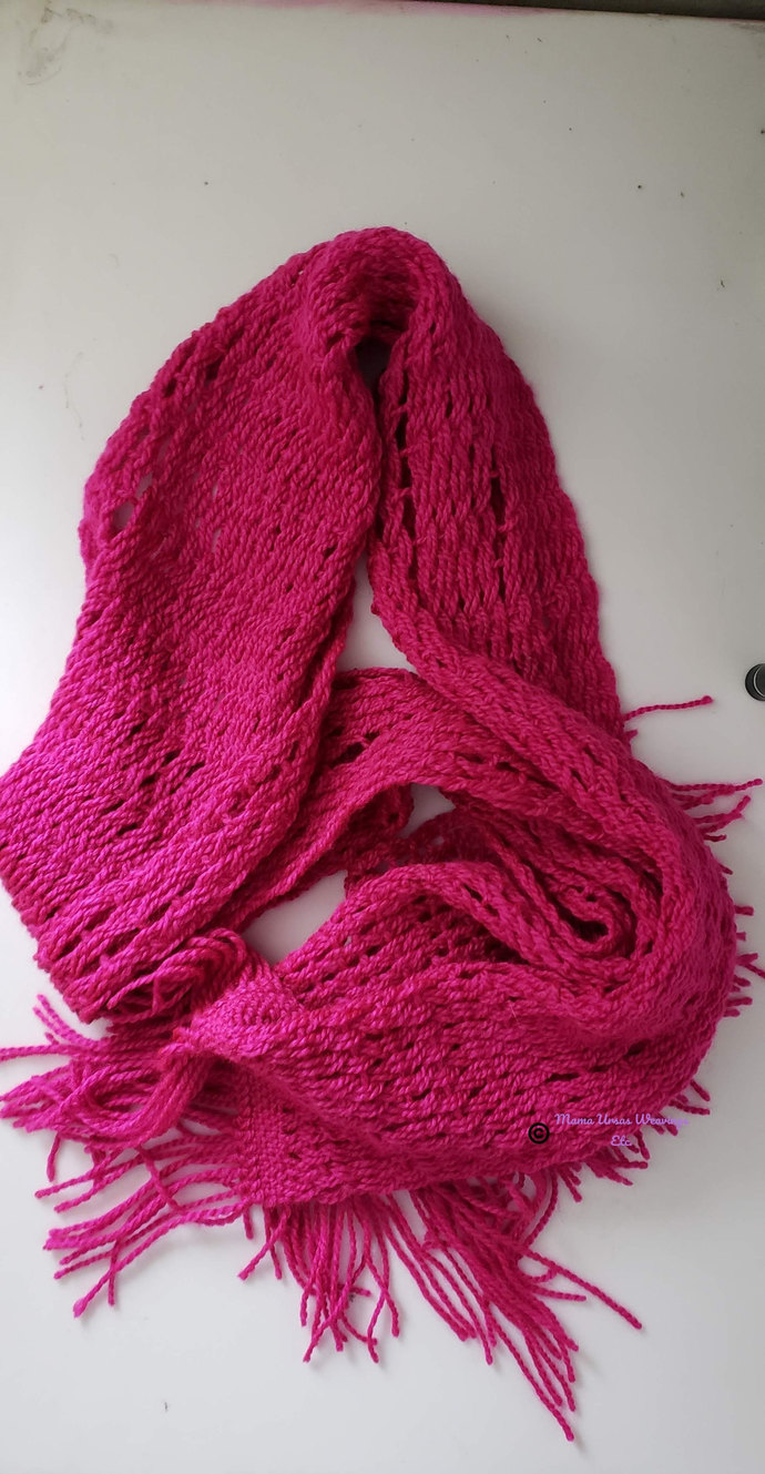 Bright Pink Leno Lace Scarf