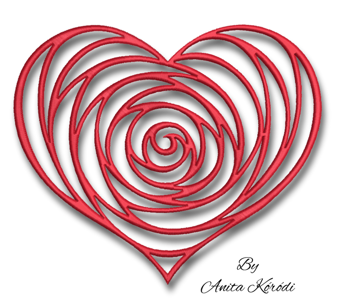 Heart rose embroidery machine designs pes Valentine's day instant digital