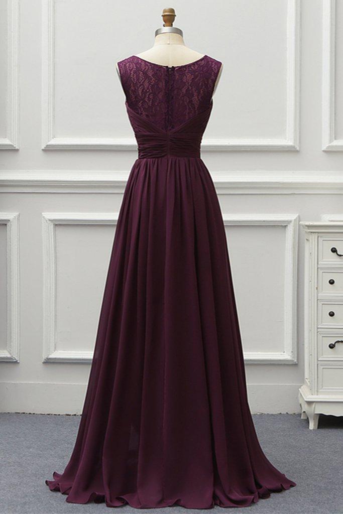 Charming Chiffon V Neck Long Lace Prom Dress, Evening Dress Long Bridesmaid