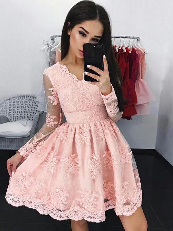Cute Pink Lace V-neckline Prom Dresses, Short Pink Lace Formal Graduation