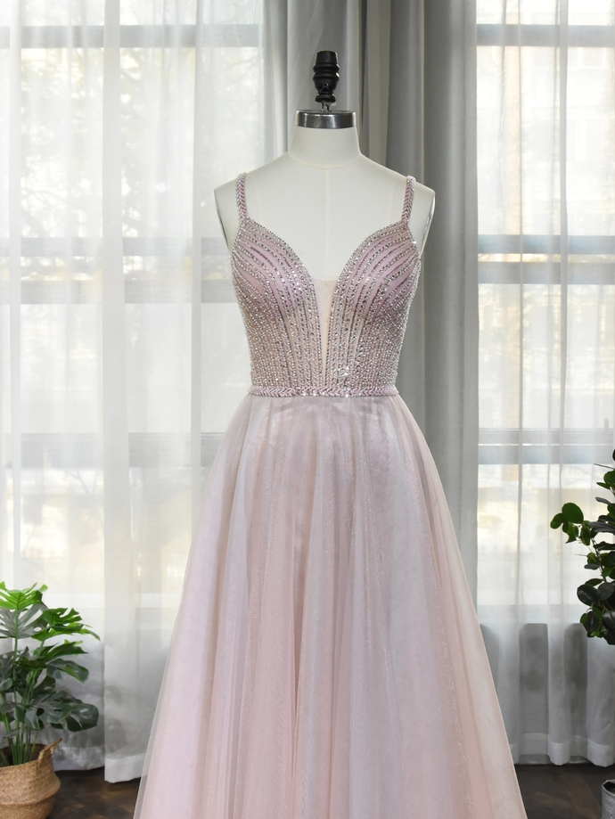 Gorgeuos Light Pink Beaded Straps Tulle Floor Length Prom Dress, A-line Prom