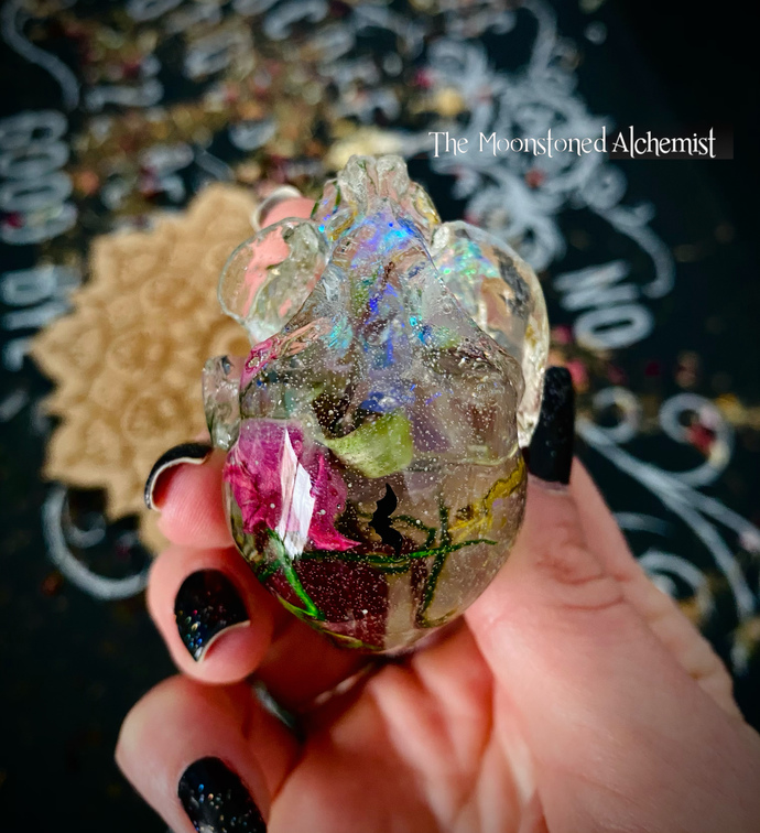 Botanical Kitten Skull with amethyst and double Rose infusion