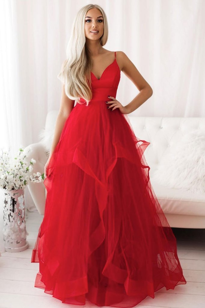 Gorgeous Red Layers Tulle Straps Long Party Dress, Red Formal Gown