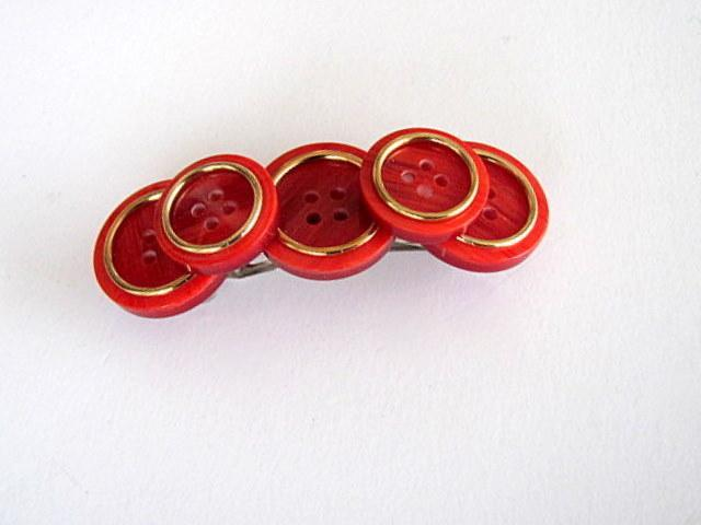 Red and Gold Vintage Button  Barrette