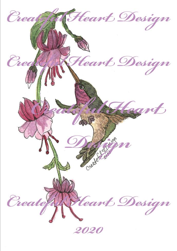 Hummingbird Fuchsia Flowers  - Digital Image