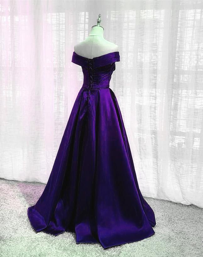 Fashionable Satin Long Party Dress 2021, A-line Purple Floor Length Prom Dress