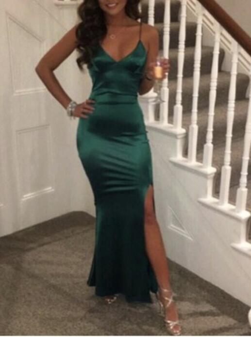 Green Slit LongEvening Dresses, Lovely Straps Formal Dress, Prom Dresses