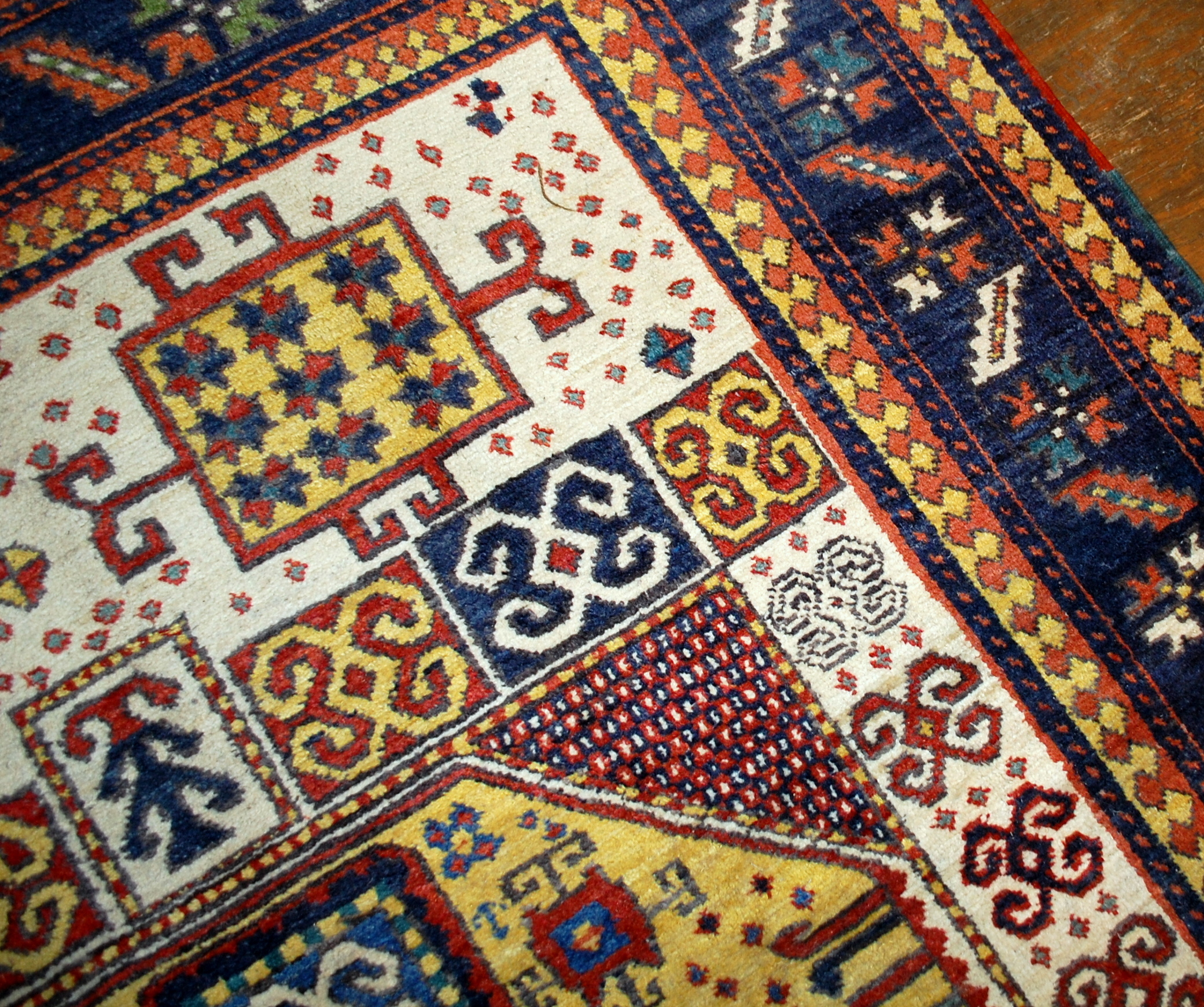 Handmade antique Caucasian Kazak Karachov rug 5.9' x 7.9' ( 180cm x 241cm ) 1940