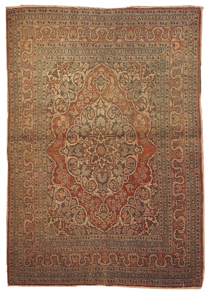 Handmade antique Persian Tabriz rug 4.2' x 5.9' ( 128cm x 179cm ) 1920 1B154