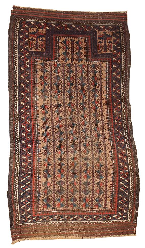 Handmade antique collectible Afghan prayer Baluch rug 2.10' x 5.3' ( 91cm x