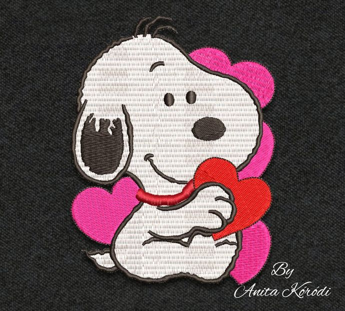 Snoopy with hearts embroidery machine design Valentine's day mini pattern pes