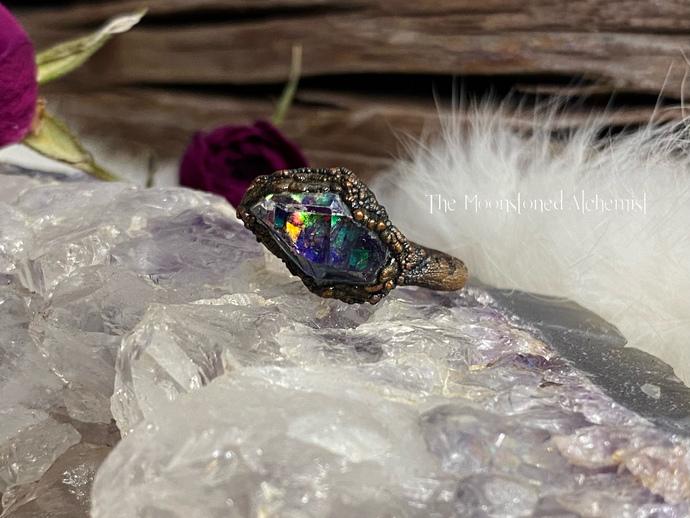 Grade A Small Celestial Herkimer Diamond Ring - size 6- Dark Copper