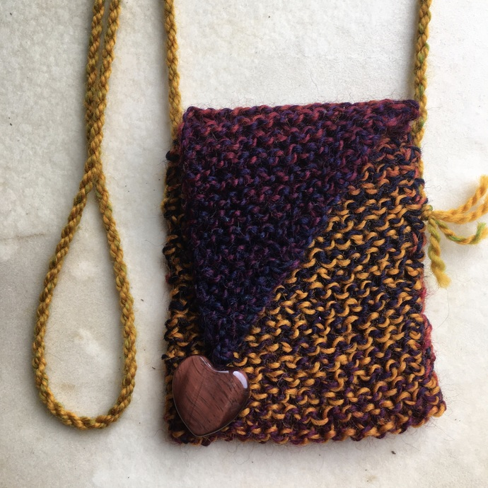 """Transitions"" - a Hand Knitted Wool Spirit Pouch"