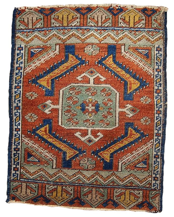 Handmade antique collectible Turkish Yastik rug 1.8' x 2' ( 54cm x 60cm ) 1870s