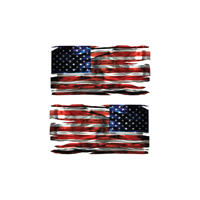 """2 Distressed Tattered American Flag Vinyl Decal - 3"""" tall x 6"""" wide FREE"""