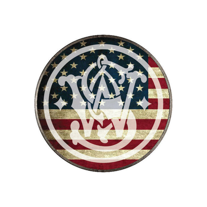 """American Flag Smith and Wesson Decal 4"""" tall - Vinyl Indoor Outdoor - FREE SHIP"""