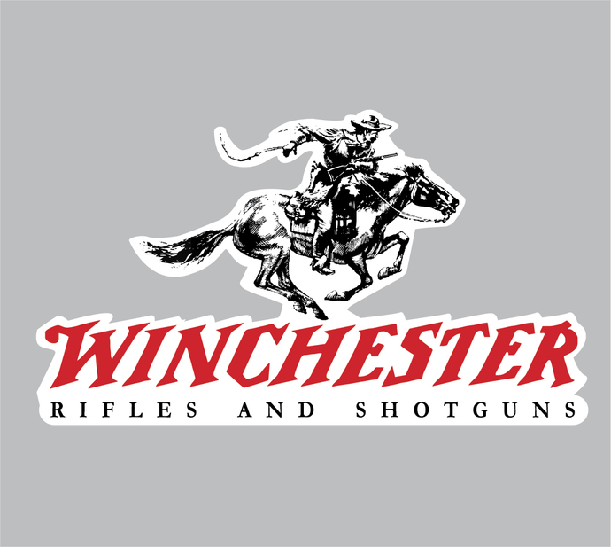 """Winchester Rifles and Shotguns Vinyl Decal 4"""" tall x7"""" wide - Indoor/Outdoor"""