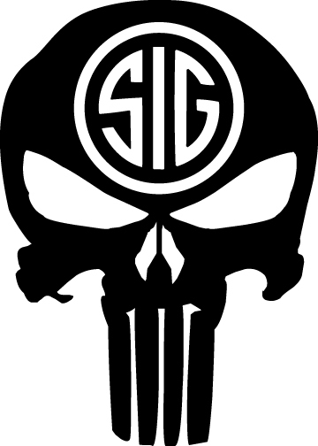 """SIG Sauer Punisher Skull Decal Sig Sticker 5"""" wide x 7"""" tall 48 Color Options"""