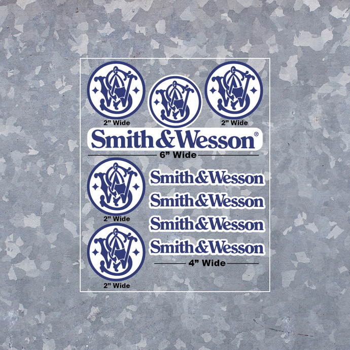 Smith and Wesson Decal Variety Pack - Vinyl Indoor Outdoor - FREE SHIP