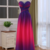 Gradient Chiffon Beaded Long Prom Dress, A-line Floor Length Formal Dress