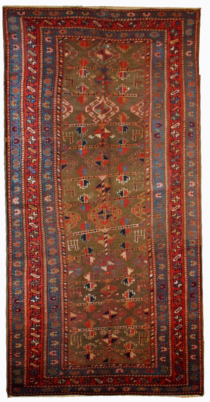 Handmade antique Persian Kurdish rug 4' x 7.6' ( 122cm x 231cm ) 1880s - 1B415